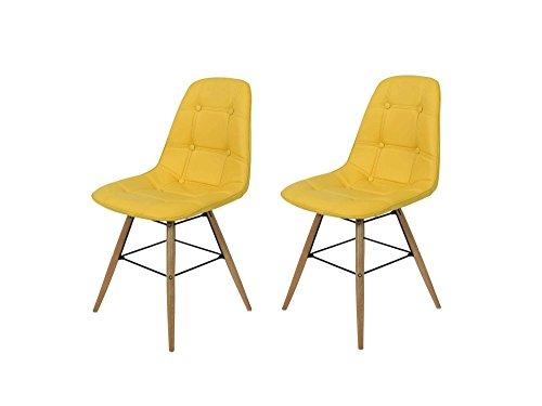 2 Stühle in gelbem Kunstleder und Gestell aus massiver Buche, Maße: B/H/T ca. 45/85/47 cm