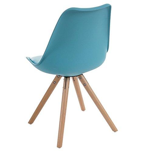 2x Esszimmerstuhl Malmö T501, Retro Design ~ türkis, Sitzfläche Kunstleder türkis, helle Beine