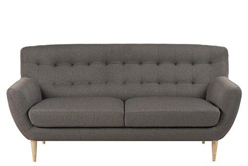 3-Sitzer Sofa in grauem Webstoff, Knopfsteppung, 2 Sitzkissen, naturbelassene Echtholzbeine, Maße: B/H/T ca. 185/87/84 cm