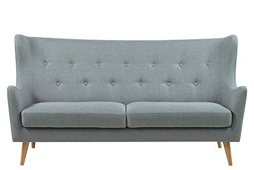 3-Sitzer Sofa in hellgrauem Webstoff, Knopfsteppung, naturbelassene Echtholzbeine , Maße: B/H/T ca. 201/105/91 cm