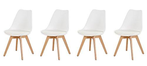 4 Esszimmerstühle in weißem Kunststoff mit Stuhlbeinen aus massiver Buche und gepolsterter Sitzfläche, Maße: B/H/T ca. 48/82/53 cm