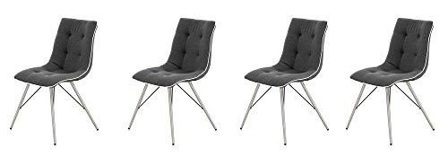 4er-Set Esszimmerstühle in grau mit weißem Kunstleder-Keder und Gestell in Edelstahl-Optik, Maße: B/H/T ca. 53/89/59 cm