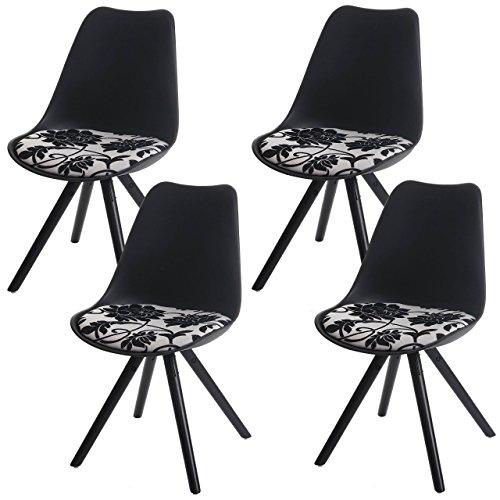 4x Esszimmerstuhl Malmö T501, Retro Design ~ schwarz, Sitzfläche Textil jacquard, dunkle Beine