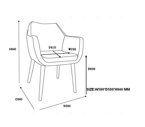 AC Design Furniture 0000055607 Armstuhl Trine, 58 x 58 x 84 cm, Sitz, Rücken lederlook vintage cognac, Gestell  Holz, Eiche, Ölbehandelt