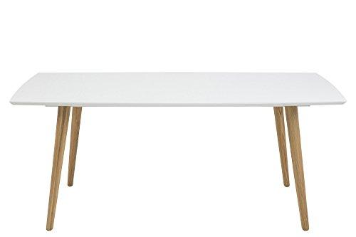 AC Design Furniture Esstisch 180x100cm aus Holz Tischplatte weiß Hochglanz Beine natur Romin