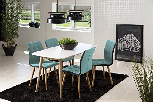 AC Design Furniture H000015081 Esszimmerstuhl 2-er Set Charlotte, Sitz/Rücken Seiten dunkelgrau, Stoff-Knöpfen hell petrol