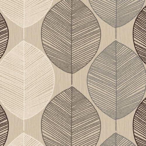 Arthouse Tapete - Retro Graubraune Blätter Motiv