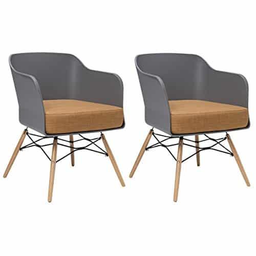 BUTIK Design Esszimmerstuhl Cooper, 2-er Set, 77 x 61 x 49 cm, braunes Sitzkissen aus hochwertiger Baumwolle, plastik grey