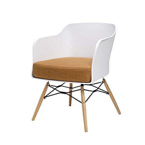 BUTIK Design Esszimmerstuhl Cooper, 6-er Set, 77 x 61 x 49 cm, braunes Sitzkissen aus hochwertiger Baumwolle, plastik weiß