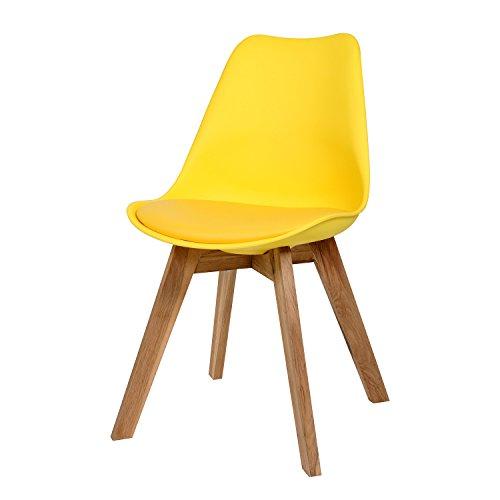 BUTIK FL20366-4 Angebot 4-er Set Moderner Design Esszimmerstuhl Consilium Valido, Eichenholz, 83 x 48 x 39 cm, gelb