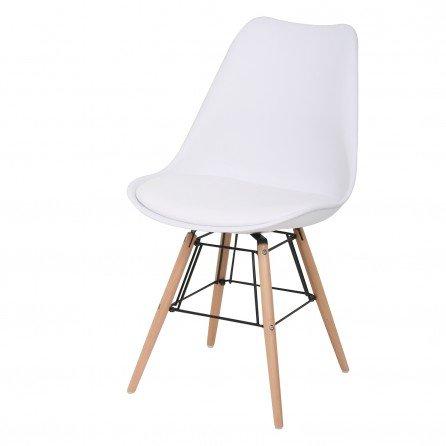 BUTIK Moderner Esszimmerstuhl Consilium Beech - Maße 83x48x39 cm - Sitzkissen aus hochwertigem Kunstleder (Weiß)