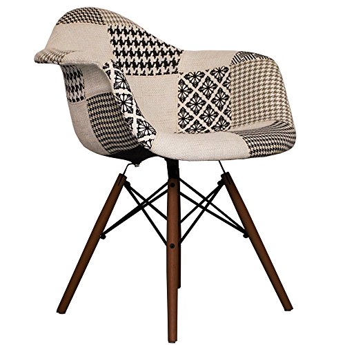 Black and white Fabric DAW Eames style chair with walnut legs