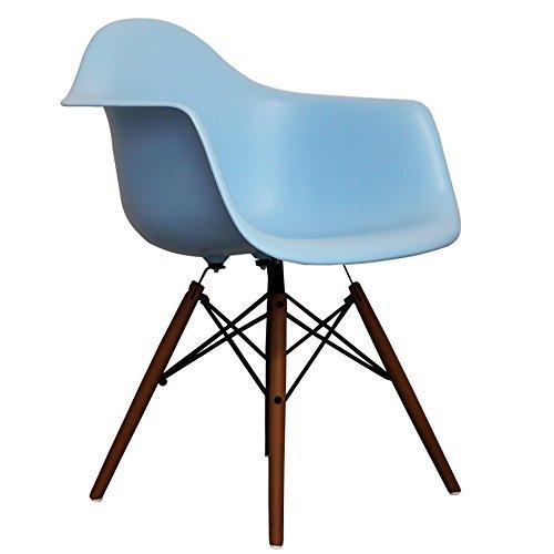 Blue Eames Style DAW chair with walnut legs