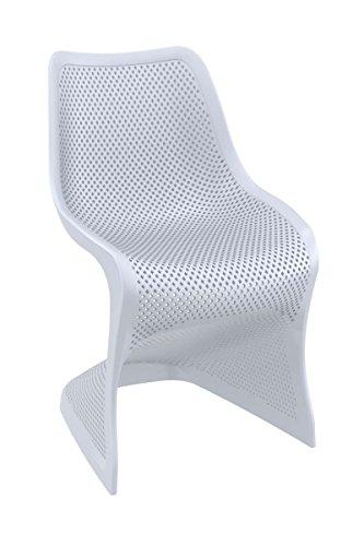 CLP Design Kunststoff-Stuhl BLOOM, stabiler Gartenstuhl, Küchenstuhl, Freischwinger mit toller Wabenoptik, FARBWAHL hellgrau
