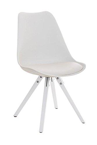 CLP Design Retro Stuhl PEGLEG SQUARE mit Holz-Gestell weiß, Materialmix Kunststoff Kunstleder Holz weiß