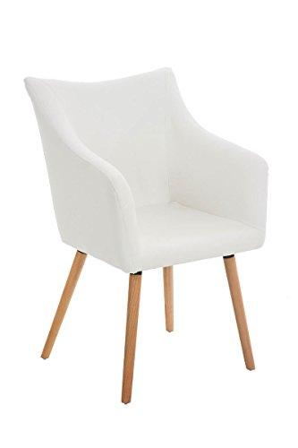 CLP Design Esszimmer-Stuhl MCCOY, Holz-Gestell, Sitzfläche gut gepolstert, Kunst-Leder Bezug weiß