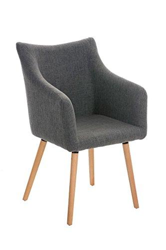 CLP Design-Stuhl MCCOY mit gut gepolsterter Sitzfläche aus Stoff und Holzgestell - aus bis zu 7 Farben wählen hellgrau