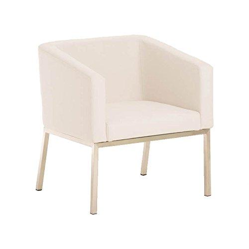 CLP Edelstahl Lounge-Sessel NALA Stoff im Retro-Stil, mit Armlehne, Polsterstärke 8 cm, bis zu 7 Farben wählbar, Sitzhöhe 44 cm weiß
