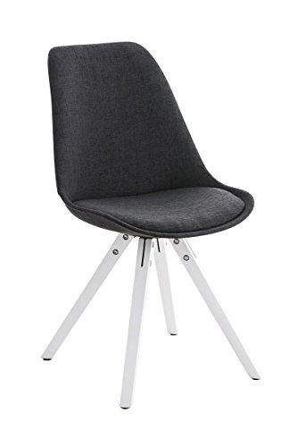 CLP Retro Design Stuhl PEGLEG SQUARE mit Holzgestell weiß, Stoffsitz, Besucherstuhl im stilvollen Design dunkelgrau