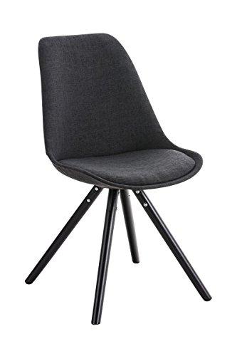 CLP Design Stuhl PEGLEG mit Stoff-Bezug, Retro Design, Esszimmer-Stuhl gepolstert, Sitzhöhe 46 cm dunkelgrau, Holzgestell schwarz