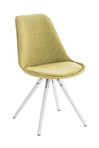 CLP Design Stuhl PEGLEG mit Stoff-Bezug, Retro Design, Esszimmer-Stuhl gepolstert, Sitzhöhe 46 cm grün, Holzgestell weiß