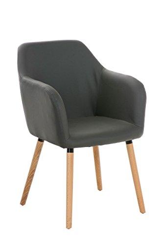 CLP moderner Besucher Design-Stuhl PICARD, Holzgestell, gut gepolsterter Sitzfläche, bis zu 5 Bezug-Farben wählbar grau
