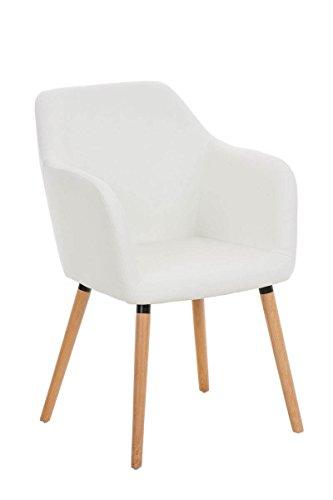 CLP Besucher Design-Stuhl PICARD, Holzgestell, Sitzfläche gut gepolstert, modern weiß