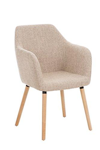 CLP Besucher Design-Stuhl PICARD, Holzgestell, Stoffbezug, gut gepolsterte Sitzfläche, modern creme