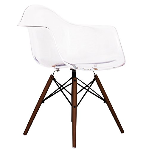 Clear Eames Style DAW chair with walnut legs