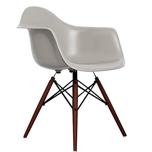 Cool Grey Eames Style DAW chair with walnut legs