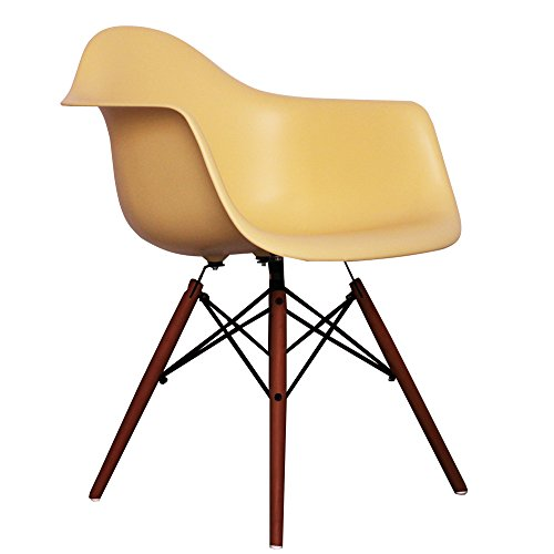 Cream Eames Style DAW chair with walnut legs