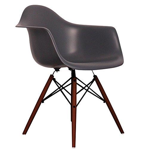 Dark Grey Eames Style DAW chair with walnut legs