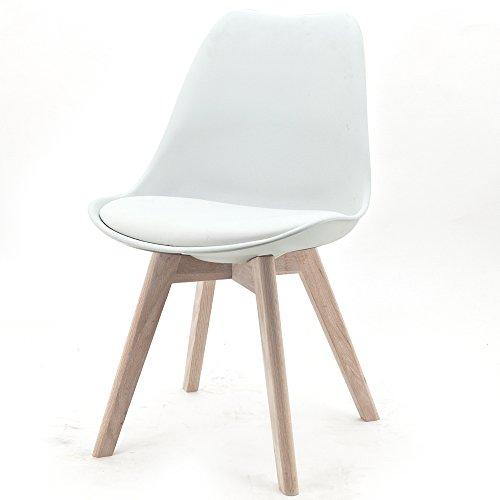 Design Stuhl RANGE Kunststoffschale Esszimmerstuhl Retro Designer Möbel Stühle (4, Weiß)