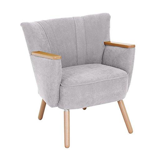 Designer Sessel LAURIN von Max Winzer - Schicker Clubsessel im Retro Look in 12 Farben verfügbar, Farbe:Silber