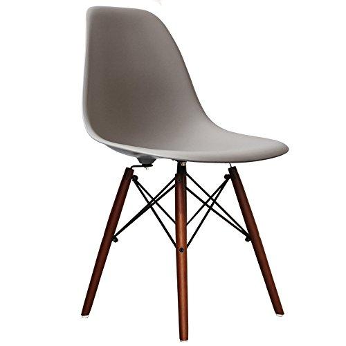Eames Stuhl DSW Style, Cool Grey, Walnuss-Beine
