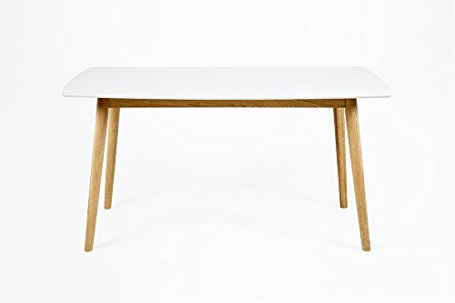 Esstisch mit weiß lackierter Tischplatte und Gestell aus Massivholz Eiche, Lack klar, Maße: B/H/T ca. 180/75,5/90 cm