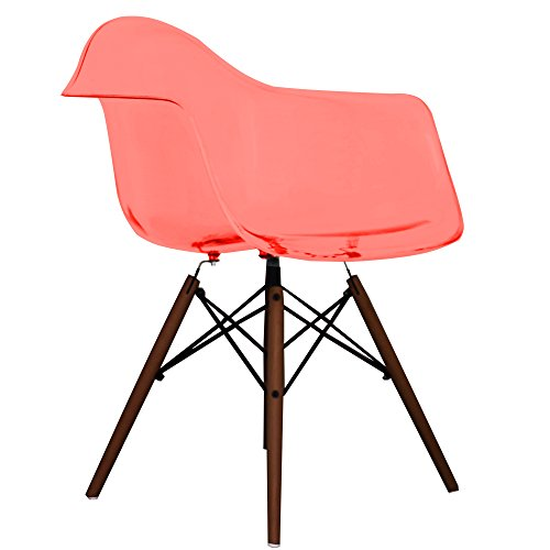 Ghost Red Eames Style DAW chair with walnut legs