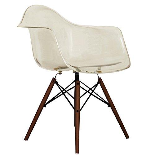 Ghost smoke Eames Style DAW chair with walnut legs