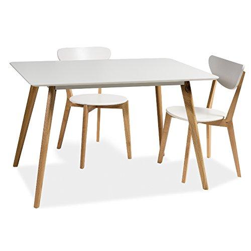 JUSThome MILAN Esszimmertisch Küchentisch Esstisch Eiche Weiß 75x80x120 cm