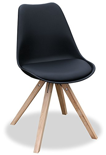 """KMH®, 2er Set Designstuhl """"Angie"""" (schwarz) Beine Eiche massiv (#800056)"""