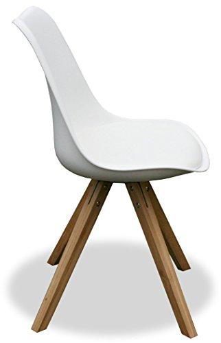 """KMH®, 2er Set Designstuhl """"Angie"""" (weiss) Beine Eiche massiv (#800055)"""