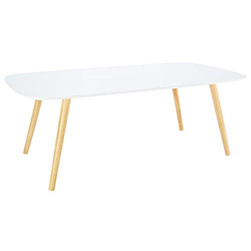 LOMOS® No.15 großer Couchtisch in weiß aus Holz im modernen Retro-Look