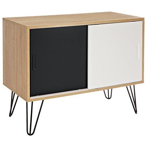 LOMOS® No.16 Kommode aus Holz mit zwei Schiebetüren im modernen Retro-Design