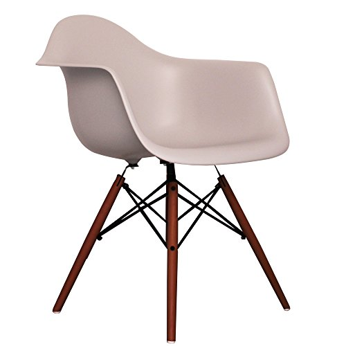 Light Grey Eames Style DAW chair with walnut legs