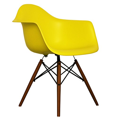 Lime Eames Style DAW chair with walnut legs