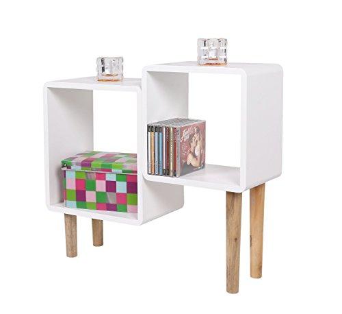 Lounge Regal Design Retro 70er Cube Wohnzimmer Standregal in weiß mit Holzfüßen (naturfarben)