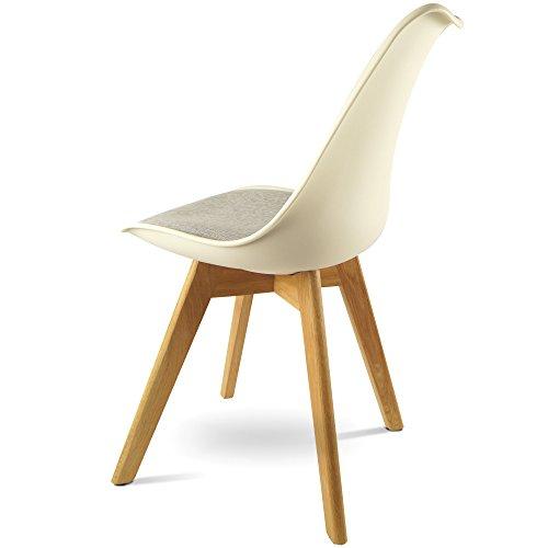 MOJO Design Stuhl Esstischstuhl Holz Gestell in weiss WO-Sel (Weiss U Gestell, Leinen)