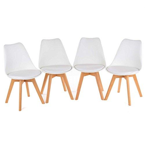 MY SIT Retro Stuhl Designerstuhl Esszimmerstühle Bürostuhl Wohnzimmerstühle Lounge Küchenstuhl Sitzgruppe 4er Set aus Kunststoff mit Rückenlehne ZURA in Weiss Neu