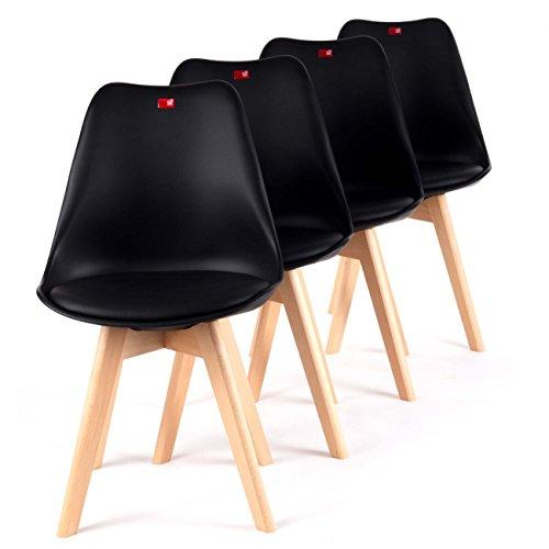 MY SIT Retro Stuhl Design Stuhl Esszimmerstühle Bürostuhl Wohnzimmerstühle Lounge Küchenstuhl Sitzgruppe 4er Set aus Kunststoff mit Rückenlehne ZURA in Schwarz