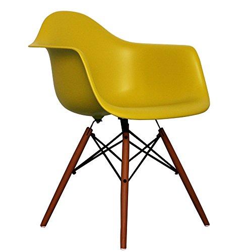 Mustard Eames Style DAW chair with walnut legs